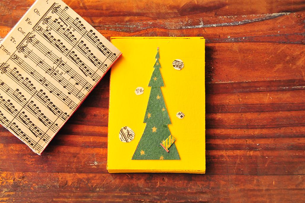 豆本の「はこ」カバーの裏面はクリスマスツリー