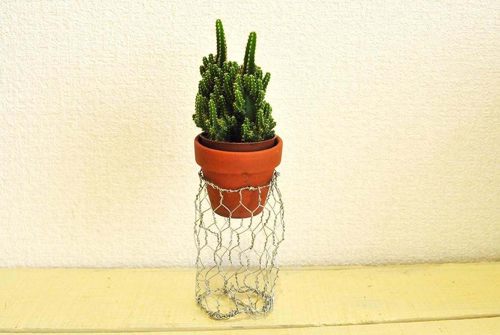 針金でDIYして作った植物カゴ サイズが小さすぎて植物が飛び出てる