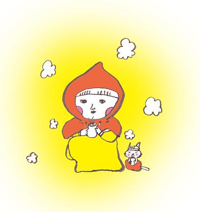 利再くる子が猫と一緒にフードをかぶって丸くなって生姜湯を飲むホカホカなイラスト