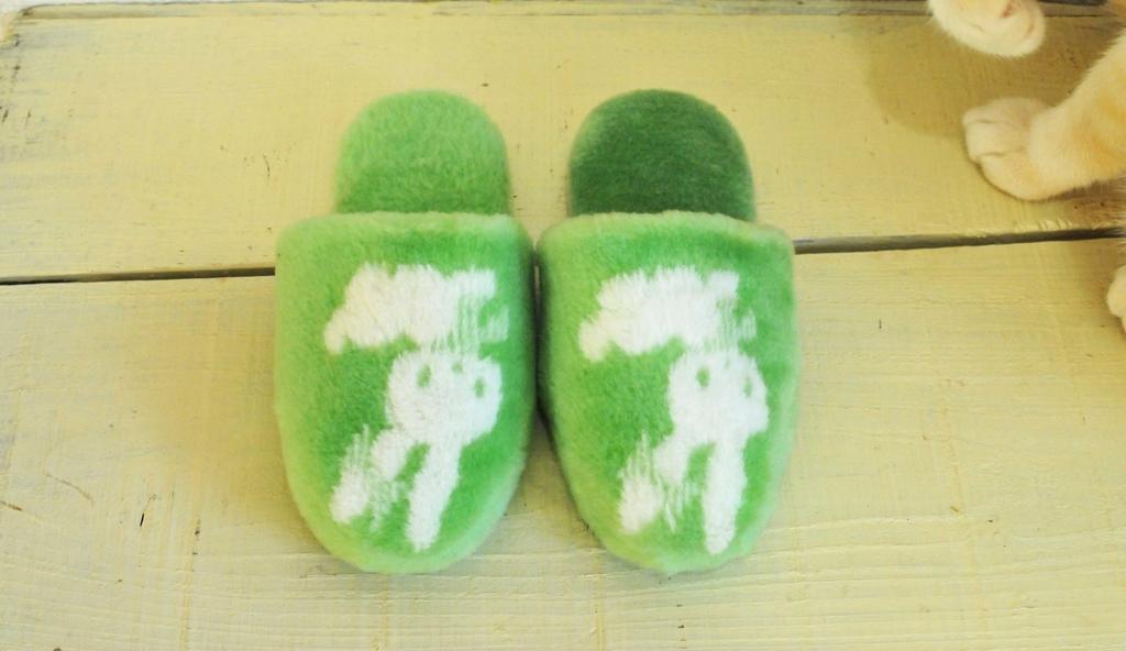 うさぎのイラストと緑色がカワイイ子供用モコモコスリッパ
