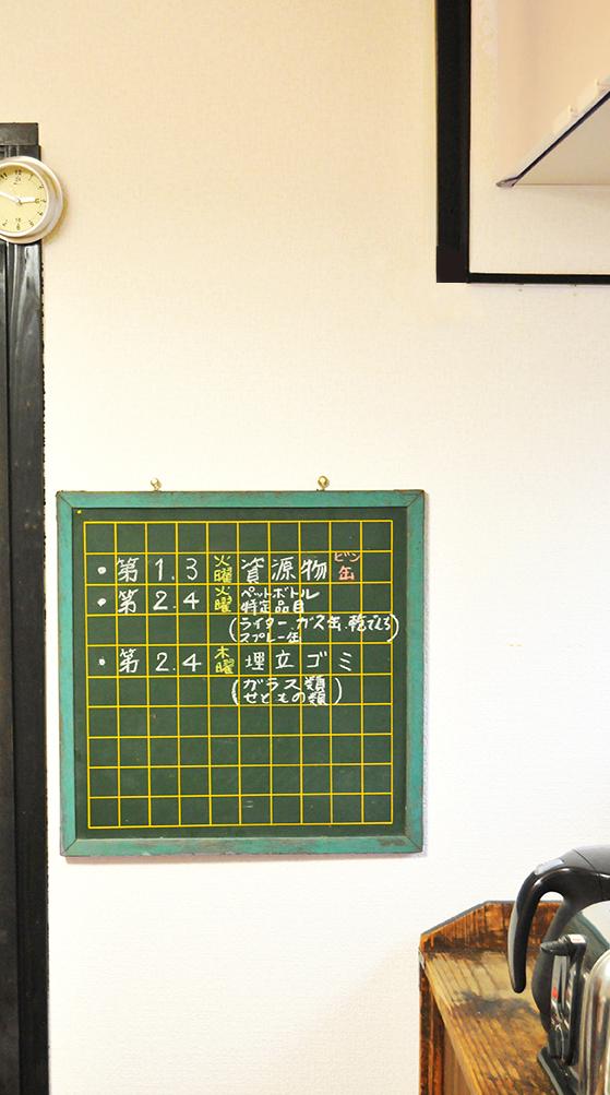 情報ボードにした台所の壁の古い黒板