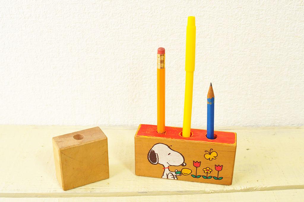 積み木を利用した雑貨リメイクDIYで作ったスヌーピーのペン立て-ふるものせいかつ図鑑