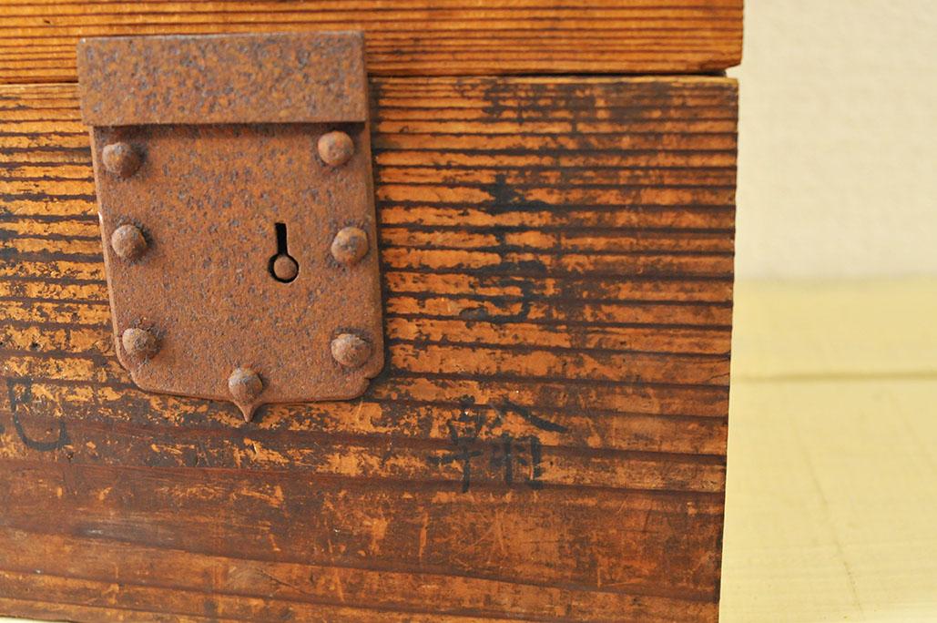 古道具箱の表面には達筆な文字後も-ふるものせいかつ図鑑