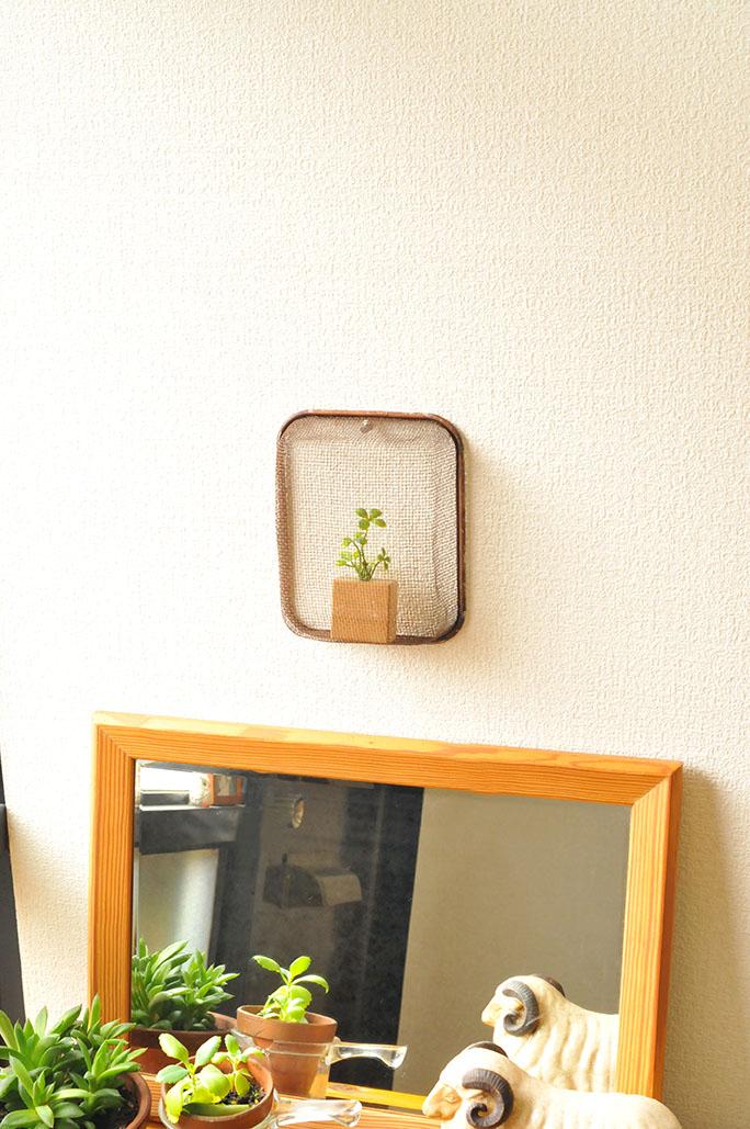 調理器具をリメイクして植物をいれて壁掛けインテリアに-ふるものせいかつ図鑑
