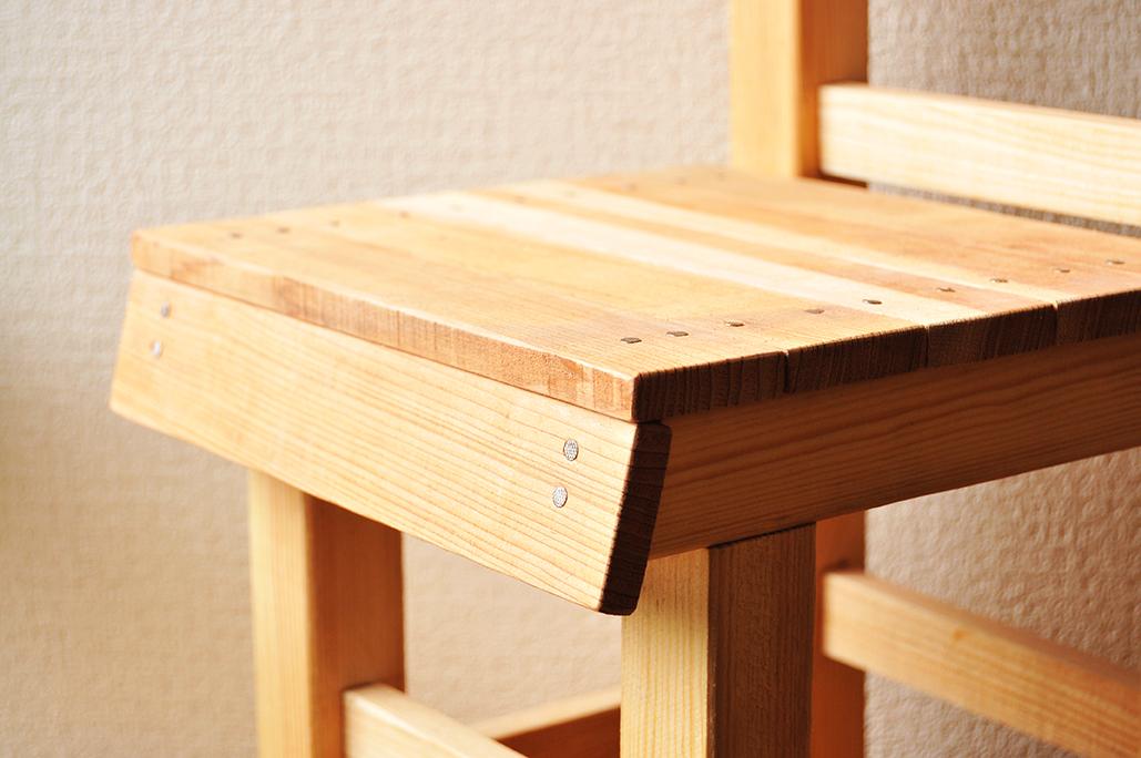 古道具DIY-DIYした子ども用イスの座面は釘で固定