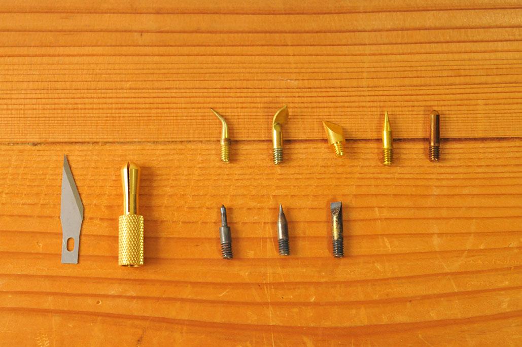 電気ペン「ヒーティングツール」の「こて先」の種類は全9種類